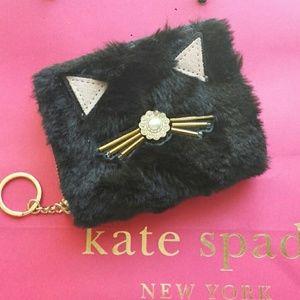 Kate Spade Dani Brighton Lane Furry Cat Wallet NWT